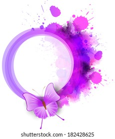 Abstract round watercolor frame in purple color with butterfly