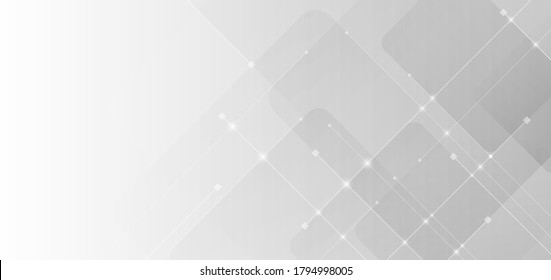 Abstract rounded square with line white and gray gradient background technology concept. Vector illustration