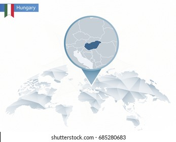 Hungary map pin images stock photos vectors shutterstock abstract rounded world map with pinned detailed hungary map map and flag of hungary gumiabroncs Gallery
