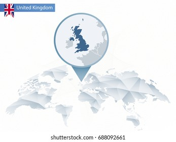 Abstract rounded World Map with pinned detailed United Kingdom map. Vector Illustration.