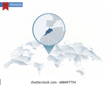 Abstract rounded World Map with pinned detailed Morocco map. Map and flag of Morocco. Vector Illustration.