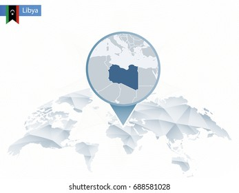 Abstract rounded World Map with pinned detailed Libya map. Vector Illustration.