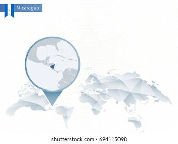 Abstract rounded World Map with pinned detailed Nicaragua map. Vector Illustration.
