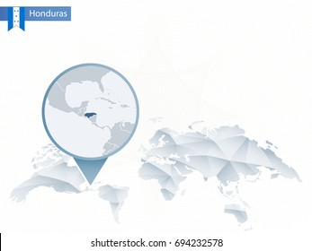 Abstract rounded World Map with pinned detailed Honduras map. Vector Illustration.