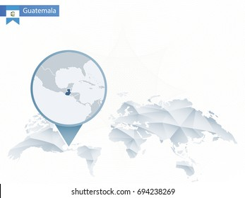 Abstract rounded World Map with pinned detailed Guatemala map. Vector Illustration.