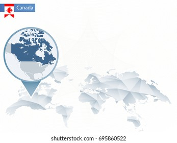 Abstract rounded World Map with pinned detailed Canada map. Vector Illustration.