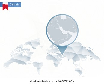 Abstract rounded World Map with pinned detailed Bahrain map. Vector Illustration.