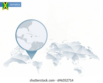 Abstract rounded World Map with pinned detailed Jamaica map. Vector Illustration.