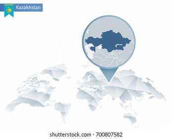 Abstract rounded World Map with pinned detailed Kazakhstan map. Vector Illustration.