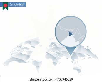 Abstract rounded World Map with pinned detailed Bangladesh map. Vector Illustration.