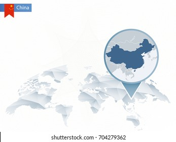 Abstract rounded World Map with pinned detailed China map. Vector Illustration.