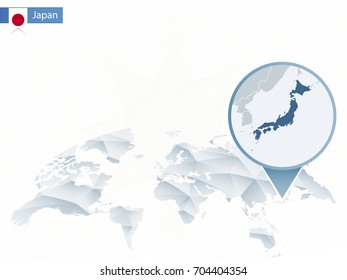 Abstract rounded World Map with pinned detailed Japan map. Vector Illustration.