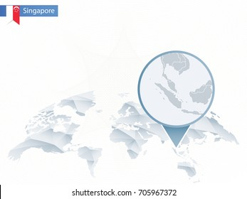 Abstract rounded World Map with pinned detailed Singapore map. Vector Illustration.