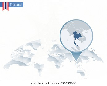 Abstract rounded World Map with pinned detailed Thailand map. Vector Illustration.