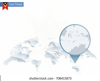 Abstract rounded World Map with pinned detailed East Timor map. Vector Illustration.