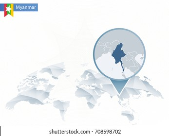 Abstract rounded World Map with pinned detailed Myanmar map. Map and flag of Burma. Vector Illustration.