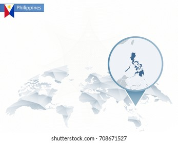 Abstract rounded World Map with pinned detailed Philippines map. Vector Illustration.