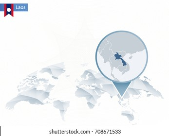 Abstract rounded World Map with pinned detailed Laos map. Vector Illustration.