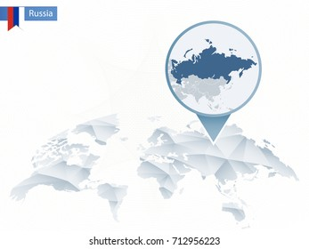 Abstract rounded World Map with pinned detailed Russia map. Vector Illustration.