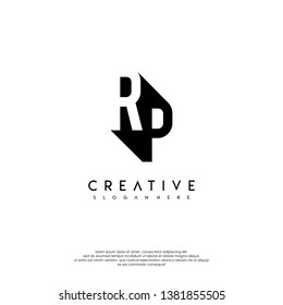 abstract RP logo letter in shadow shape design concept