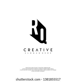 abstract RQ logo letter in shadow shape design concept