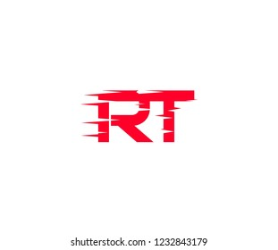 Abstract RT Letter Fast Speed Sharp Style Red Color Logotype