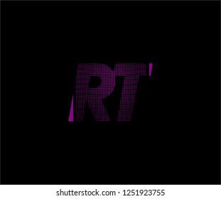Abstract RT pattern pixel bit squares geometric modern tech logo