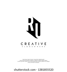 abstract RU logo letter in shadow shape design concept