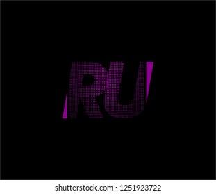 Abstract RU pattern pixel bit squares geometric modern tech logo