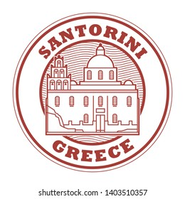 Abstract rubber stamp with Church of Panagia Platsani in Santorini, Greece inside, vector illustration