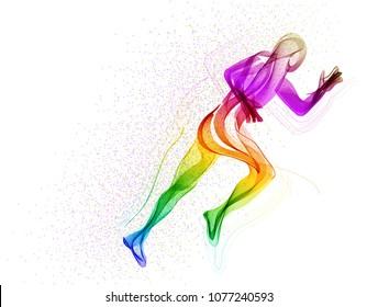 Abstract runner, man silhouette over white