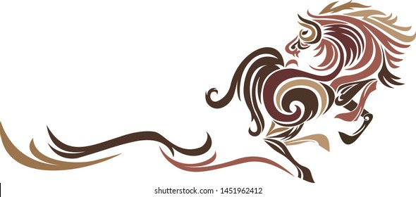 Abstract Running Horse Logo Vector. Silhouette of horse running, graphic design.
