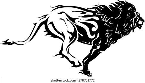 Abstract Running Lion with Flame Trail