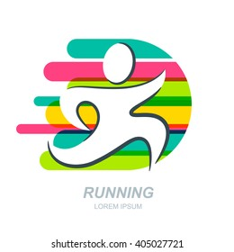 Abstract running man silhouette on striped background. Vector human logo, emblem, icon, label design elements. Concept for sports club, fitness, competition, marathon and healthy lifestyle.