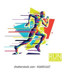 Abstract running man. Style wpap. Vector illustration.