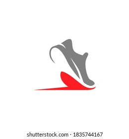 Abstract running shoe symbol on white backdrop. Design element