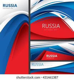 Abstract Russian Flag, Russia National Colors (Vector Art)