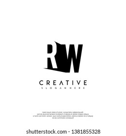 abstract RW logo letter in shadow shape design concept