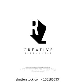 abstract RZ logo letter in shadow shape design concept