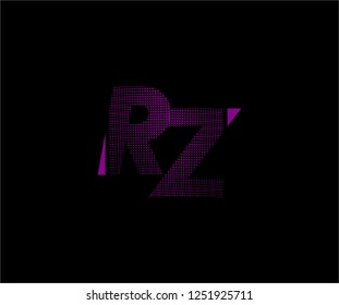Abstract RZ pattern pixel bit squares geometric modern tech logo