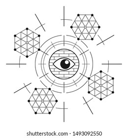 Abstract sacred geometrical symbol. Mystical emblem with eye.