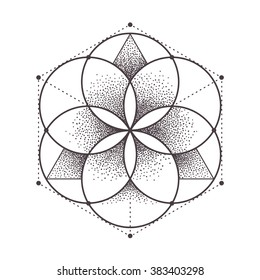 Abstract sacred geometry. Geometric symmetric pattern isolated on white. Vector illustration.