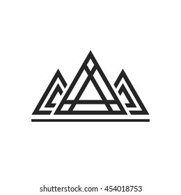 Abstract sacred geometry triangles logo sign isolated on white background, concept of royal king emblem, luxury constructions, pyramid shapes line art outline design