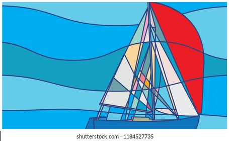 Abstract Sailboat with Red Spinnaker, Sailing, Poster Design, Blue water cruiser, Adventure, solo sailing, Ocean crossing, Explorer, Voyage, 2018 Golden Globe Yacht Race, GGYR, Robert Knox Johnston