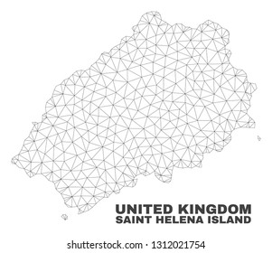 Abstract Saint Helena Island map isolated on a white background. Triangular mesh model in black color of Saint Helena Island map. Polygonal geographic scheme designed for political illustrations.