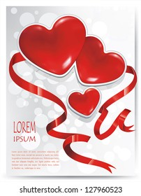 Abstract Saint Valentine's Day background with bow and hearts. Classical congratulation card. Vector frame with Place for your text.
