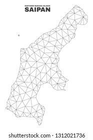 Abstract Saipan Island map isolated on a white background. Triangular mesh model in black color of Saipan Island map. Polygonal geographic scheme designed for political illustrations.