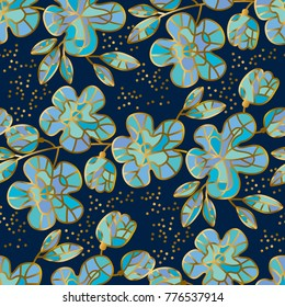 Abstract sakura blossom vector illustration. Floral pattern in luxury mosaic jewelry style with gold and blue colors. Spring flowers decorative branch for surface design.
