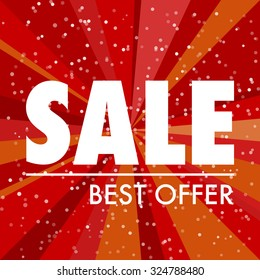 Abstract sale label with red background and white text.