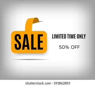 Abstract sale poster with shadow on a gray background. Orange sticker sale, limited time only